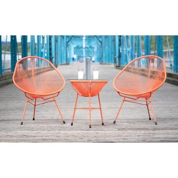 Shop Decorative Modern Orange IndoorOutdoor Bistro Dining Set Free Shipping Today Overstock