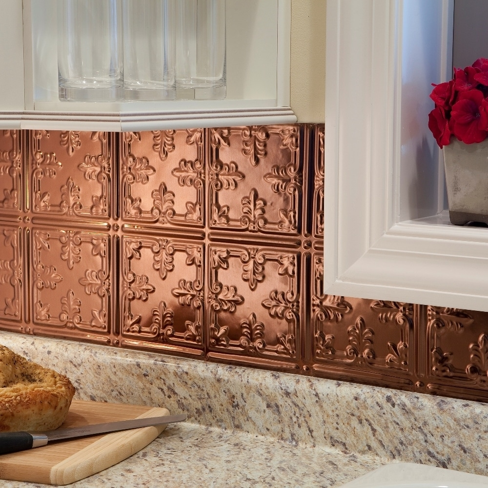 fasade traditional style 10 polished copper 15 square foot backsplash kit