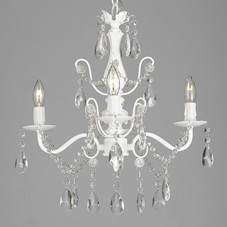 Wrought Iron And Crystal White 4 Light Chandelier Pendant