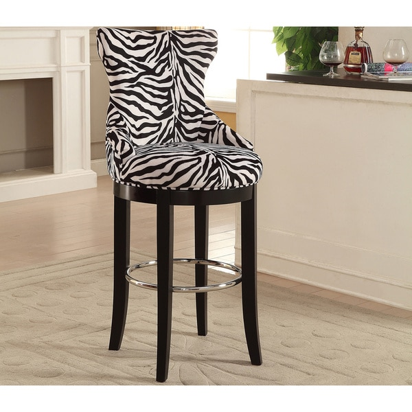 Peace Modern And Contemporary Zebra Print Patterned Fabric Upholstered Bar Stool With Metal