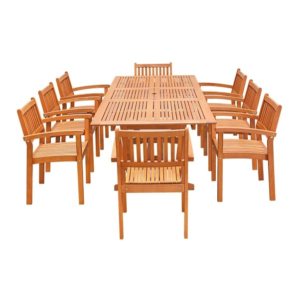 Buy Wood Outdoor Dining Sets Online at Overstock com   Our Best     9 Piece Wood Outdoor Dining Set with Rectangular Extension Table and  Stacking Chairs