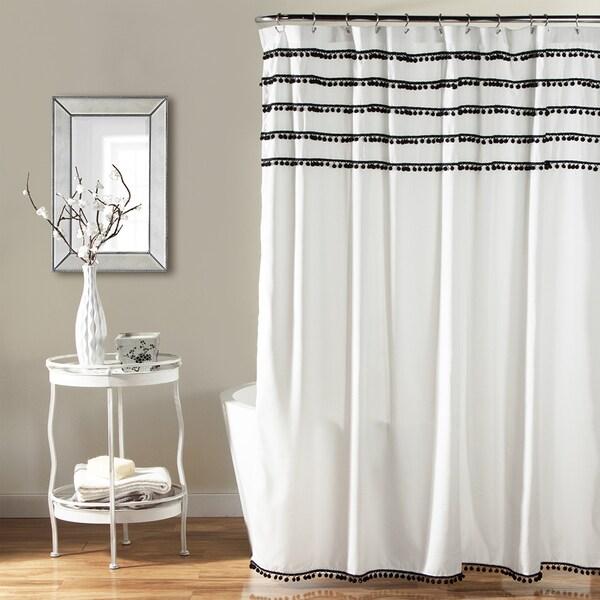 Shop Lush Decor Aria Pom Pom Shower Curtain Free Shipping Today Overstock 10375783