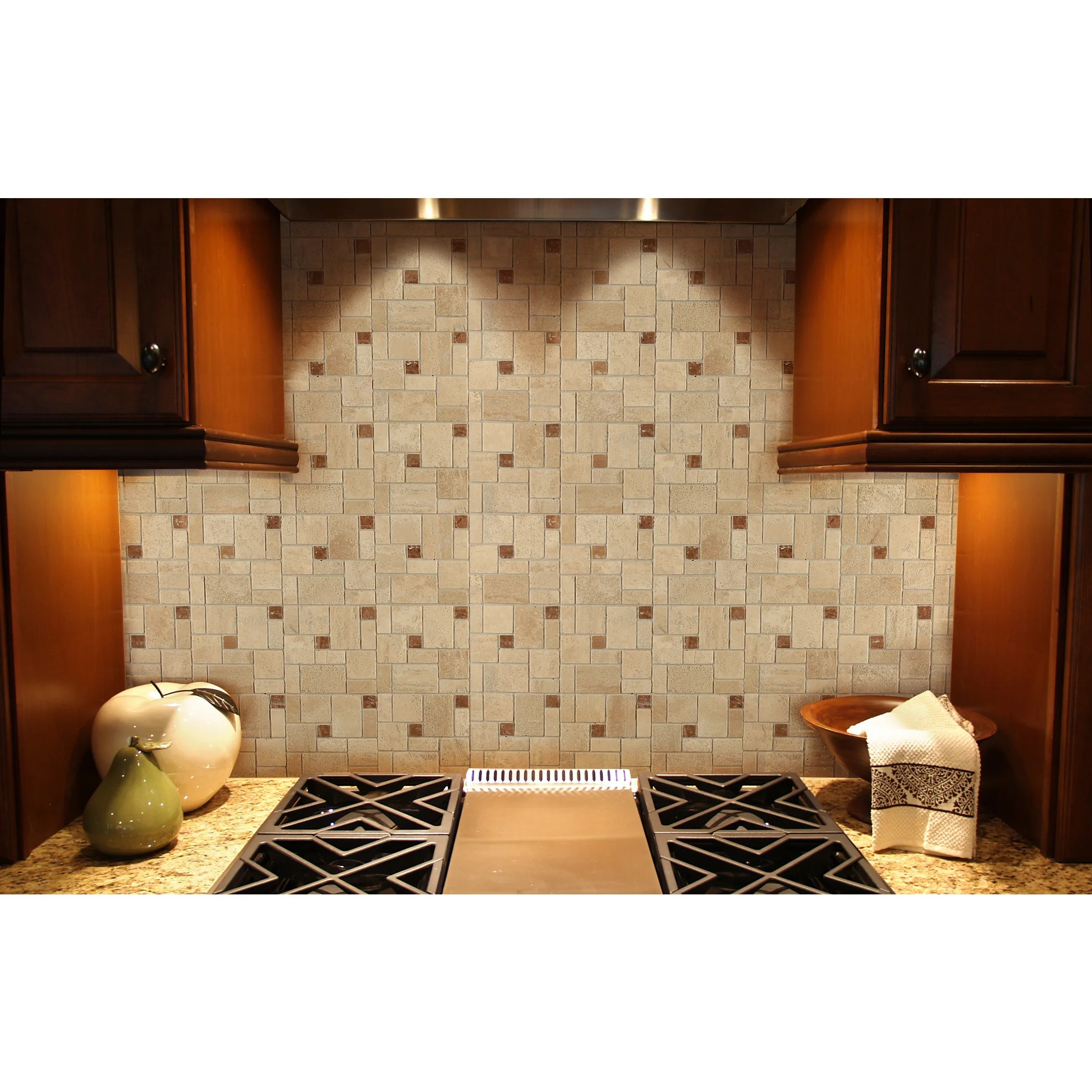 instant mosaic 12 x 12 tan beige and brown peel and stick natural stone tile 6 sq ft total