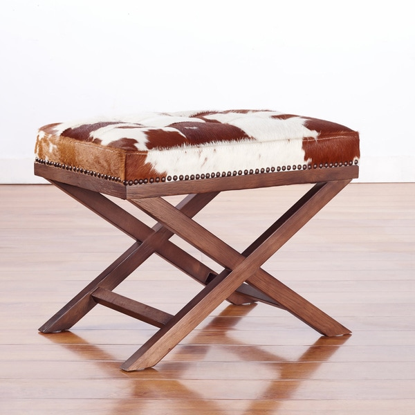 Shop Moo X Genuine Cowhide Ottoman Free Shipping Today