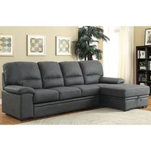 Buy L Shape Sectional Sofas Online at Overstock com   Our Best     Furniture of America Delton Contemporary Faux Nubuck Sleeper Sectional