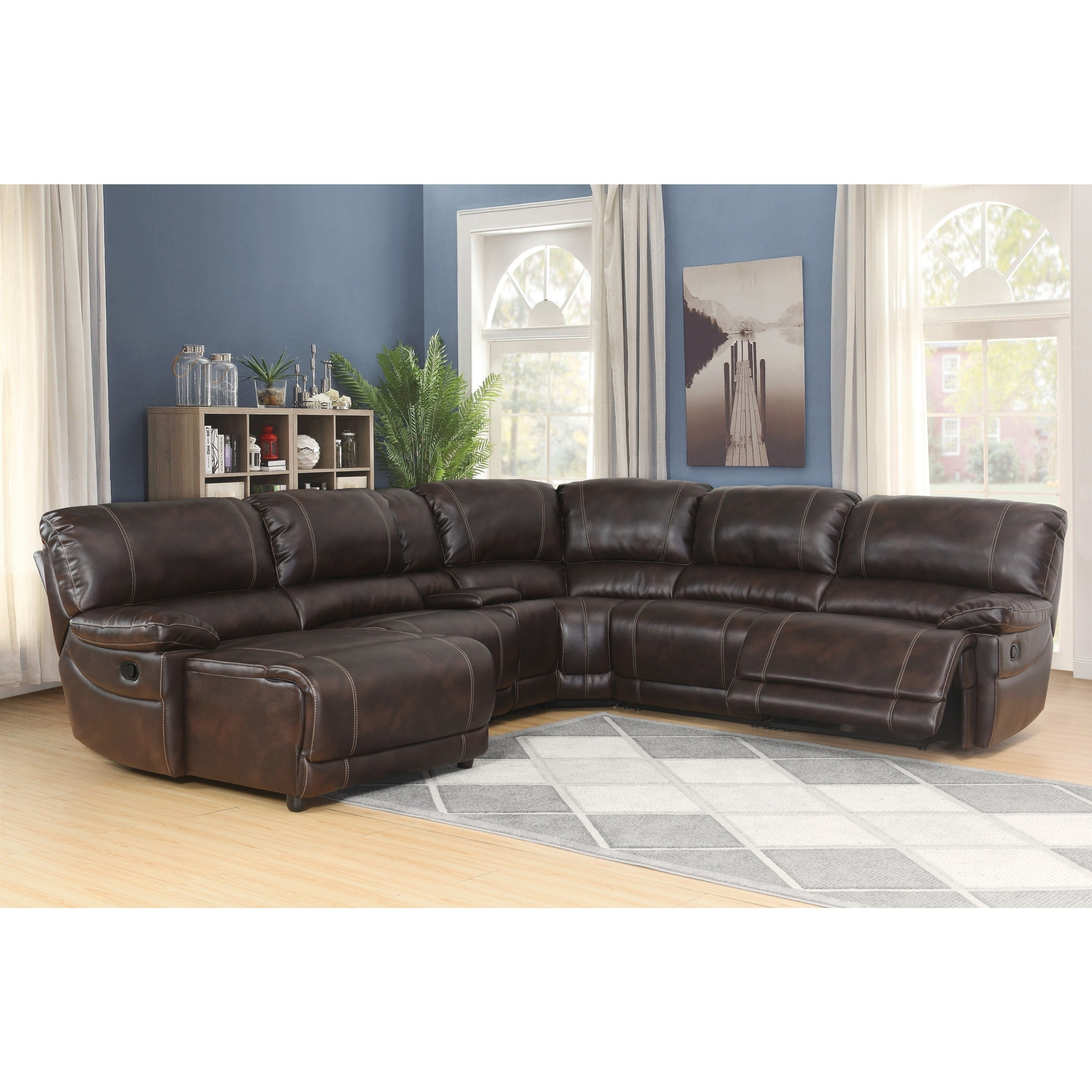 abbyson cooper 6 piece dark brown sectional sofa