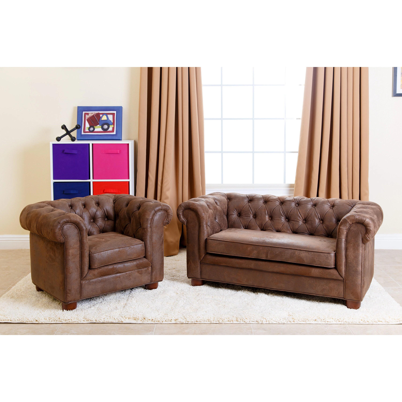 Abbyson Kids Antique Brown Velvet Chesterfield Rj Mini Sofa Overstock 10562568