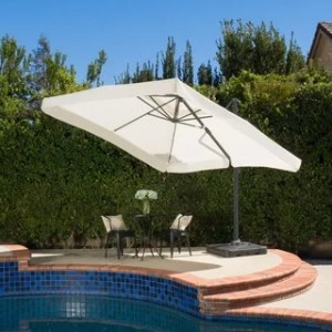 Patio Umbrellas   Shades   Shop our Best Garden   Patio Deals Online     Outdoor Merida 9 8 foot Canopy Umbrella with Base by Christopher Knight Home