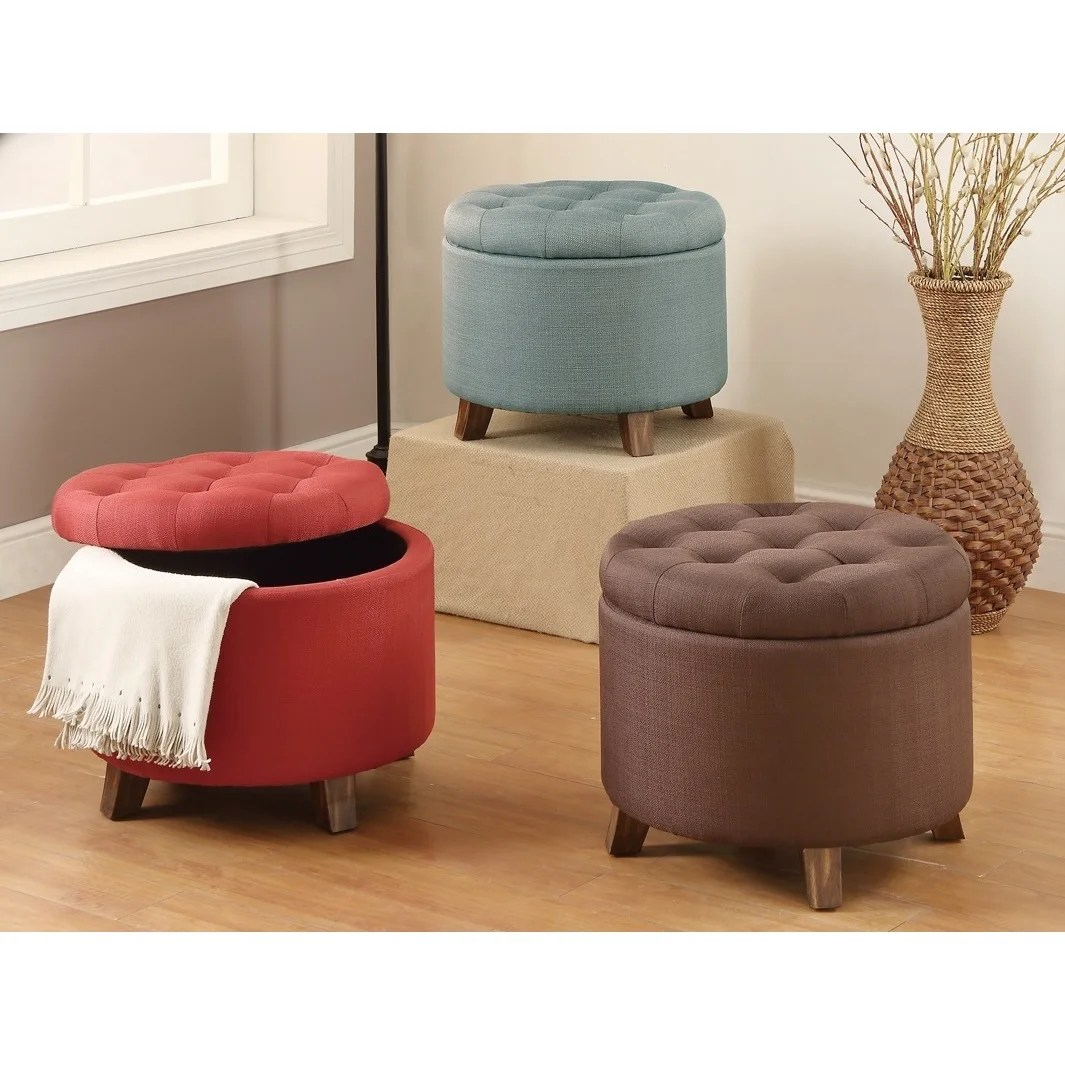 20 inch tufted top upholstered round storage ottoman
