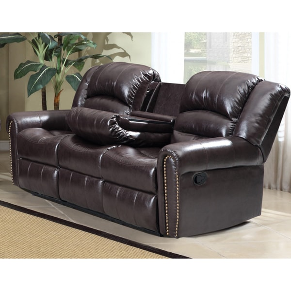 Shop Meridian Brown Chelsea Dual Reclining Sofa With