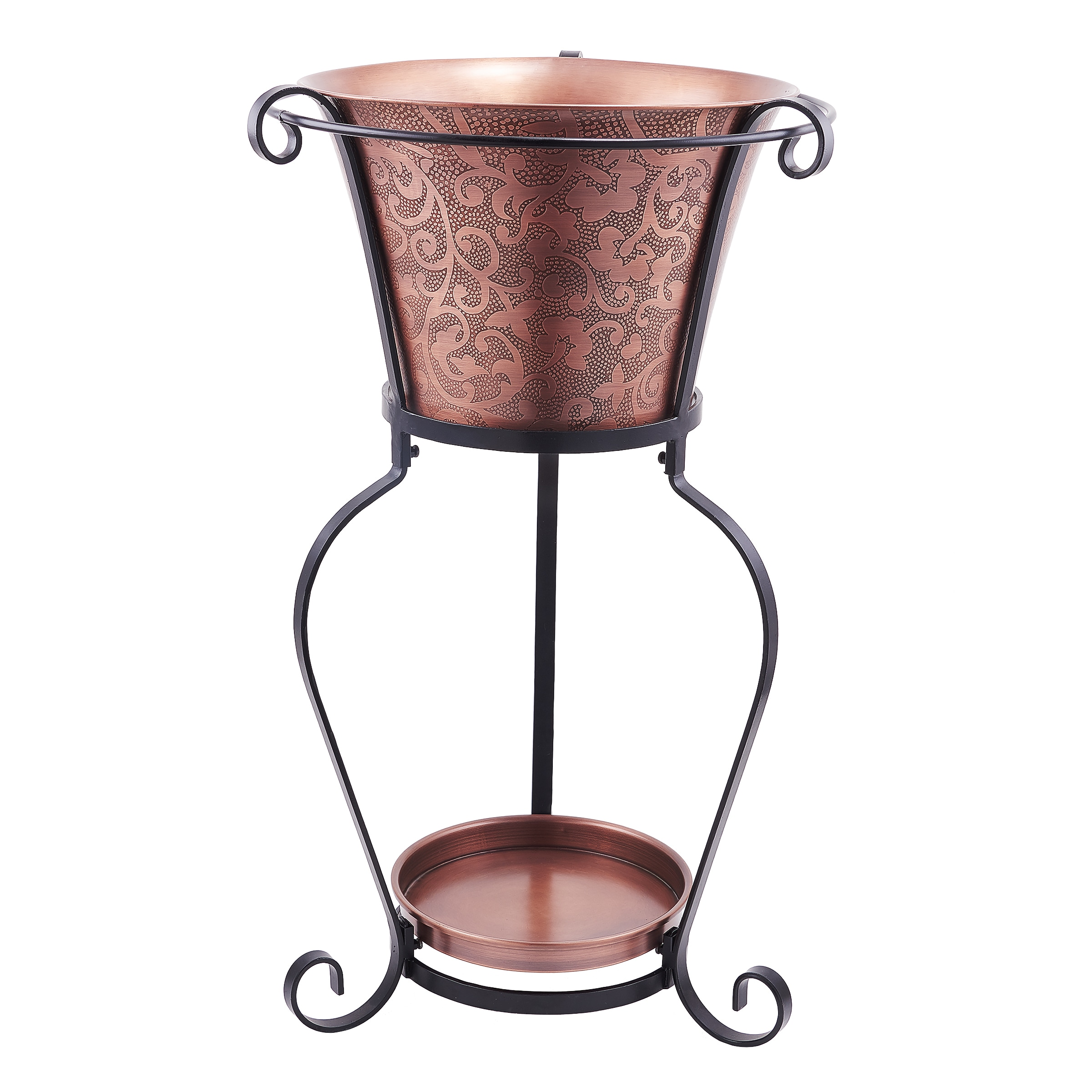 Shop Black Friday Deals On 19 75 X 32 Solid Copper Etched Beverage Tub With Stand 5 Galllon Overstock 10702058