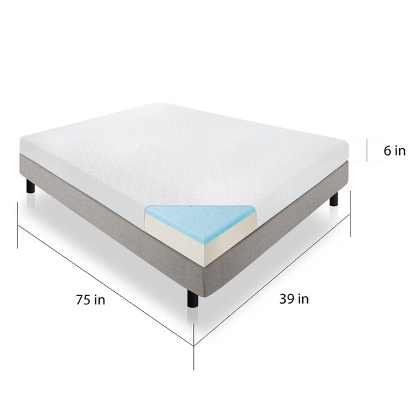 Lucid 6 Inch Twin Size Gel Memory Foam Mattress Free Shipping Today 17792284