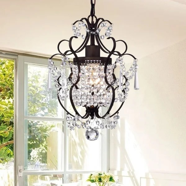 Rosalie 1 Light Antique Bronze 11 Inch Crystal Chandelier