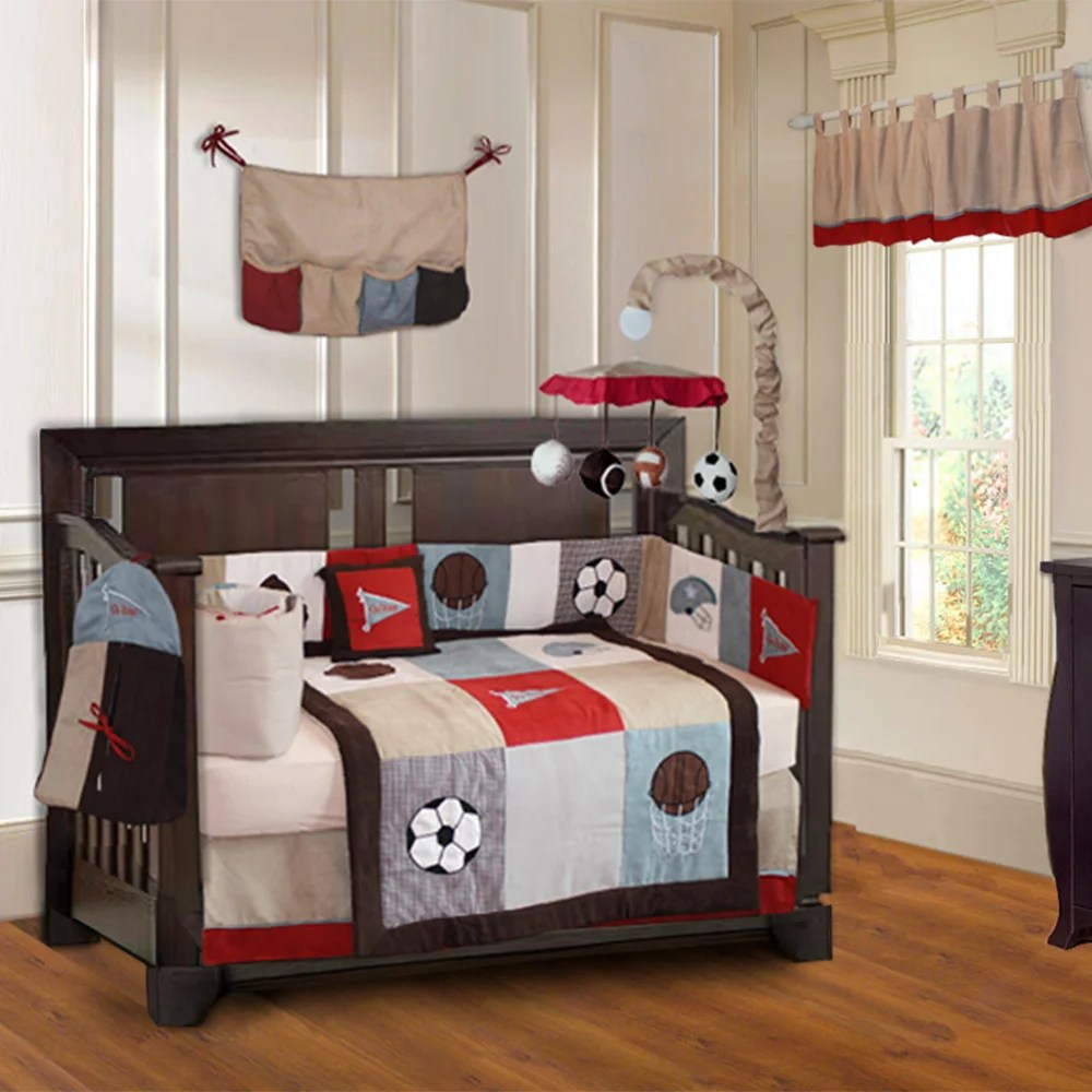 babyfad go team 10 piece baby boy sports crib bedding set with musical mobile
