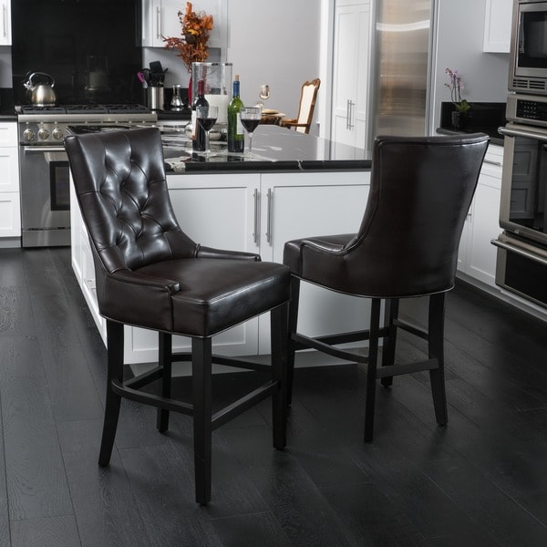 Shop Lyons 26 Inch Bonded Leather Counter Stool Set Of 2 By Christopher Knight Home On Sale