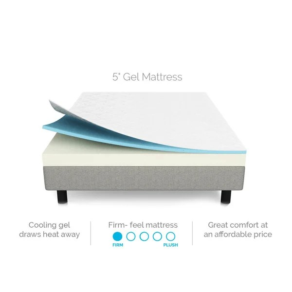 Twin Size 5 Inch Dual Layer Gel Infused Memory Foam Mattress Free Shipping Today 17914928