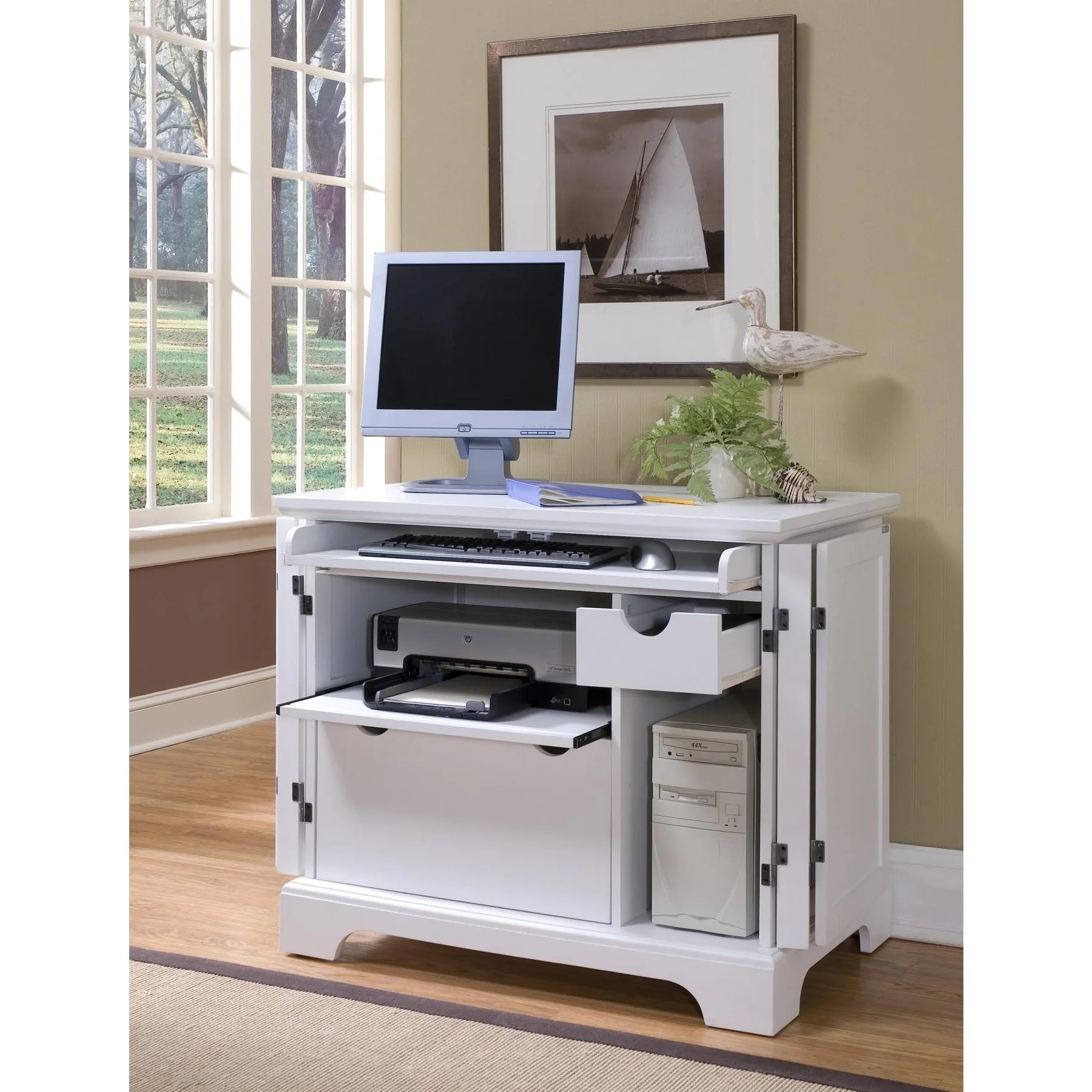 Naples White Compact Computer Desk By Home Styles Overstock 10898533