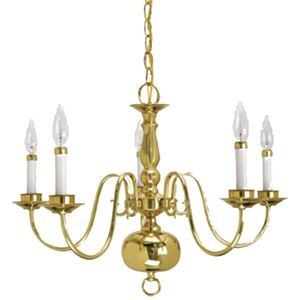 Crown Lighting Traditional 5 Light Williamsburg Style Polished Brass Chandelier