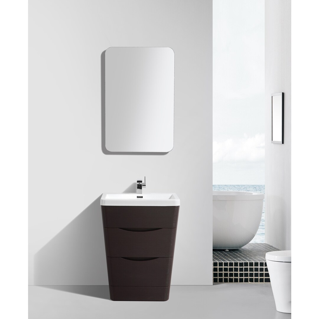 eviva victoria 25 inch chest nut modern bathroom vanity with white integrated acrylic sink