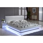 Shop Black Friday Deals On Contemporary White Platform Bed With Led Strip Lights Overstock 10993035