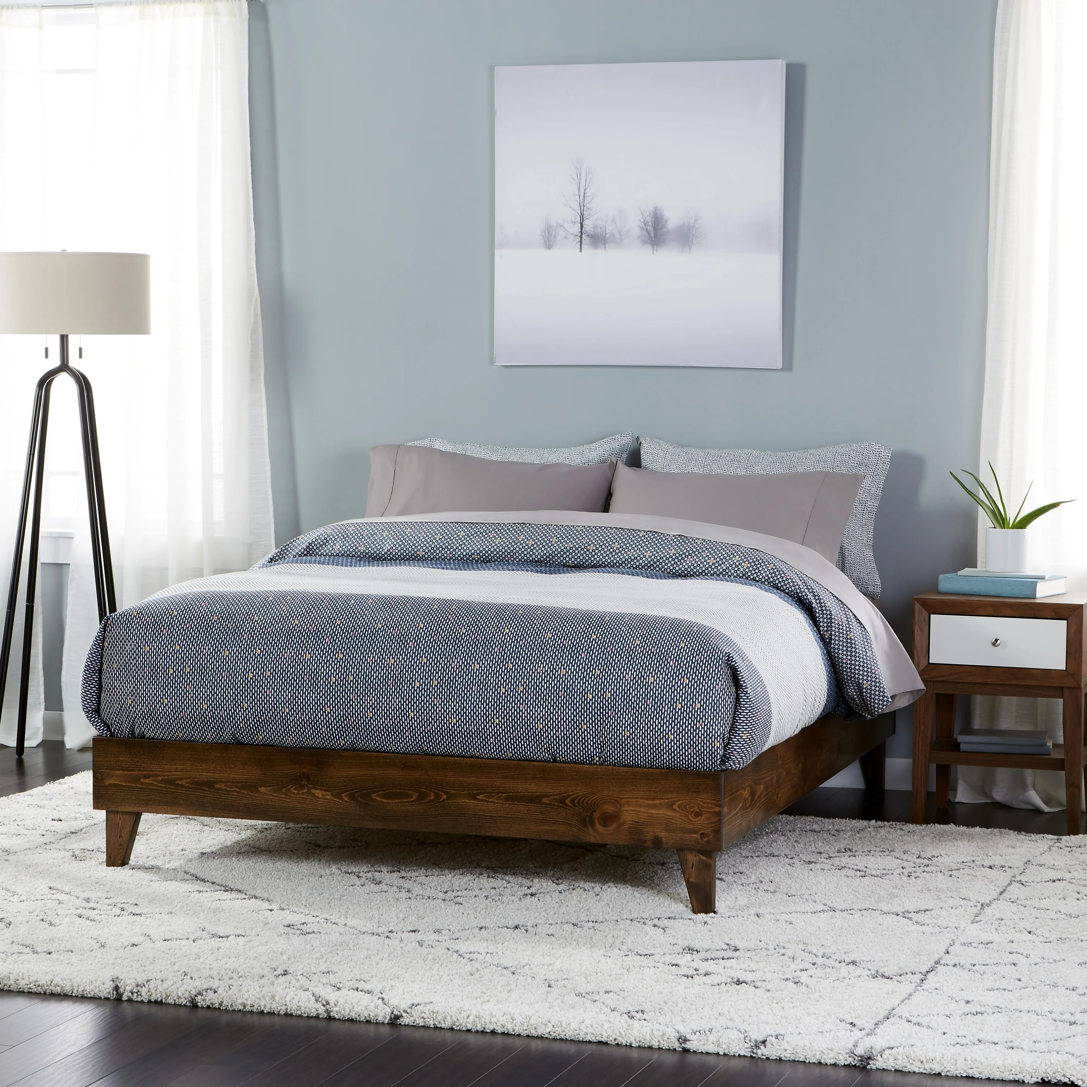 Buy Queen Beds Online at Overstock com   Our Best Bedroom Furniture     Wood Mid century Platform Style Bed