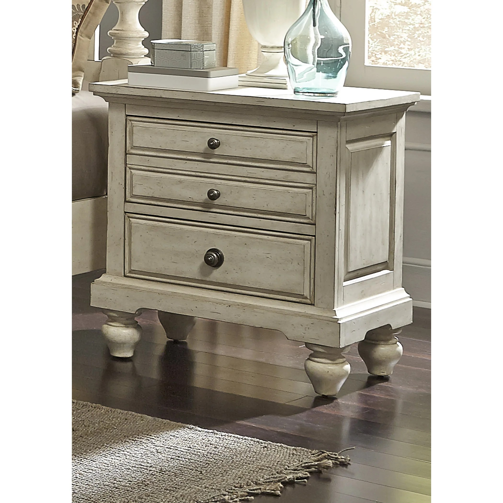High Country Pine White Washed 2 Drawer Nightstand