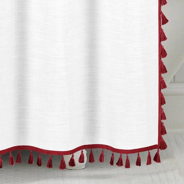 echelon home tassel shower curtain on