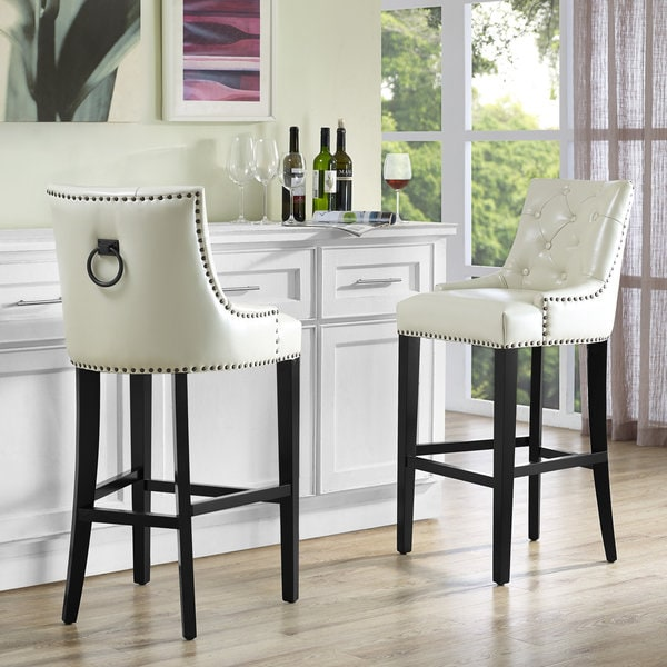 Shop Uptown Cream Leather Counter Stool Free Shipping