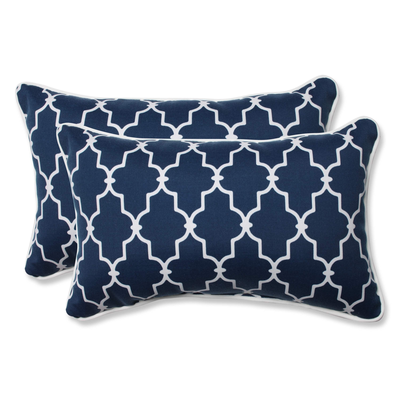 pillow perfect outdoor indoor garden gate navy rectangular throw pillow set of 2
