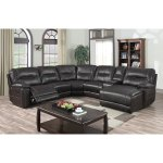 Baxton Studio Matthias Modern And Contemporary Dark Brown Bonded Leather 6 Piece Sectional With Recliners Corner Lounge Suite