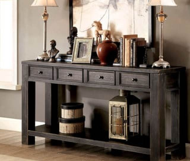 Furniture Of America Cosbin Bold Antique Black  Drawer Sofa Table