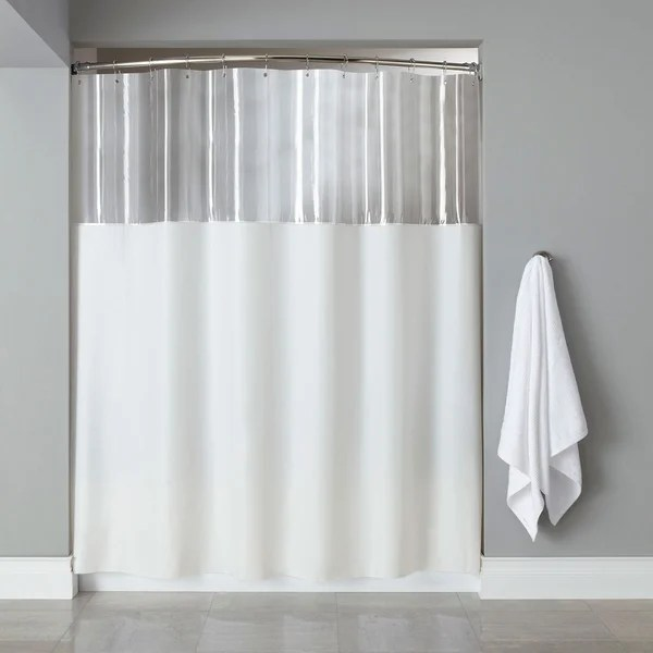 Extra Long Mildew Resistant Clear White Shower Curtain Free Shipping On Orders Over 45