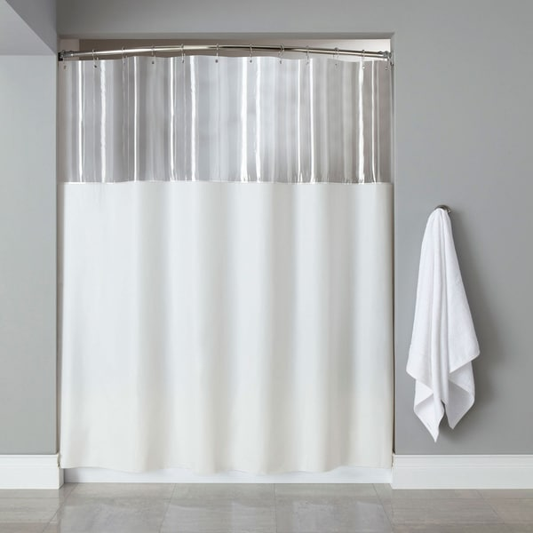 extra long mildew resistant clear white shower curtain