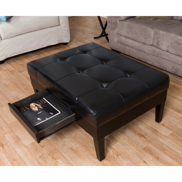 homepop bonded leather square storage