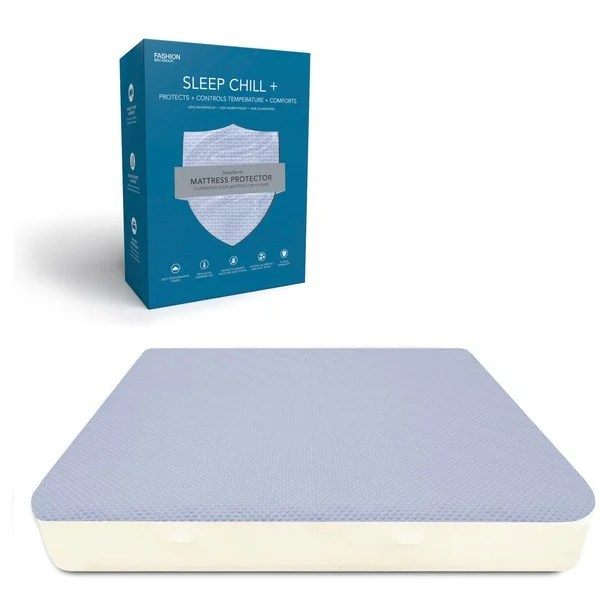 Sleep Chill Crystal Gel Mattress Protector With Cooling Fibers And Blue 3 D Fabric