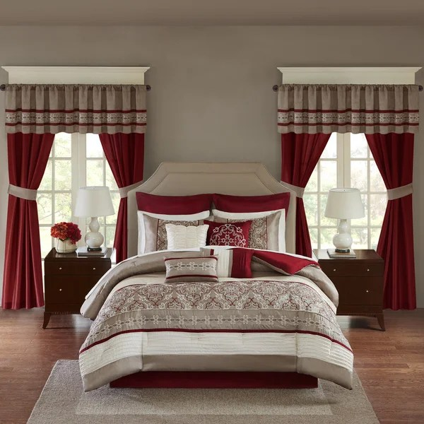 Madison Park Essentials Katarina Red 24 Piece Complete Bed Set Window Panels Amp Sheet Set