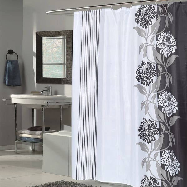 Shop Beautiful Black And White Flower Motif Extra Long Fabric Shower Curtain 70 X 84 Free