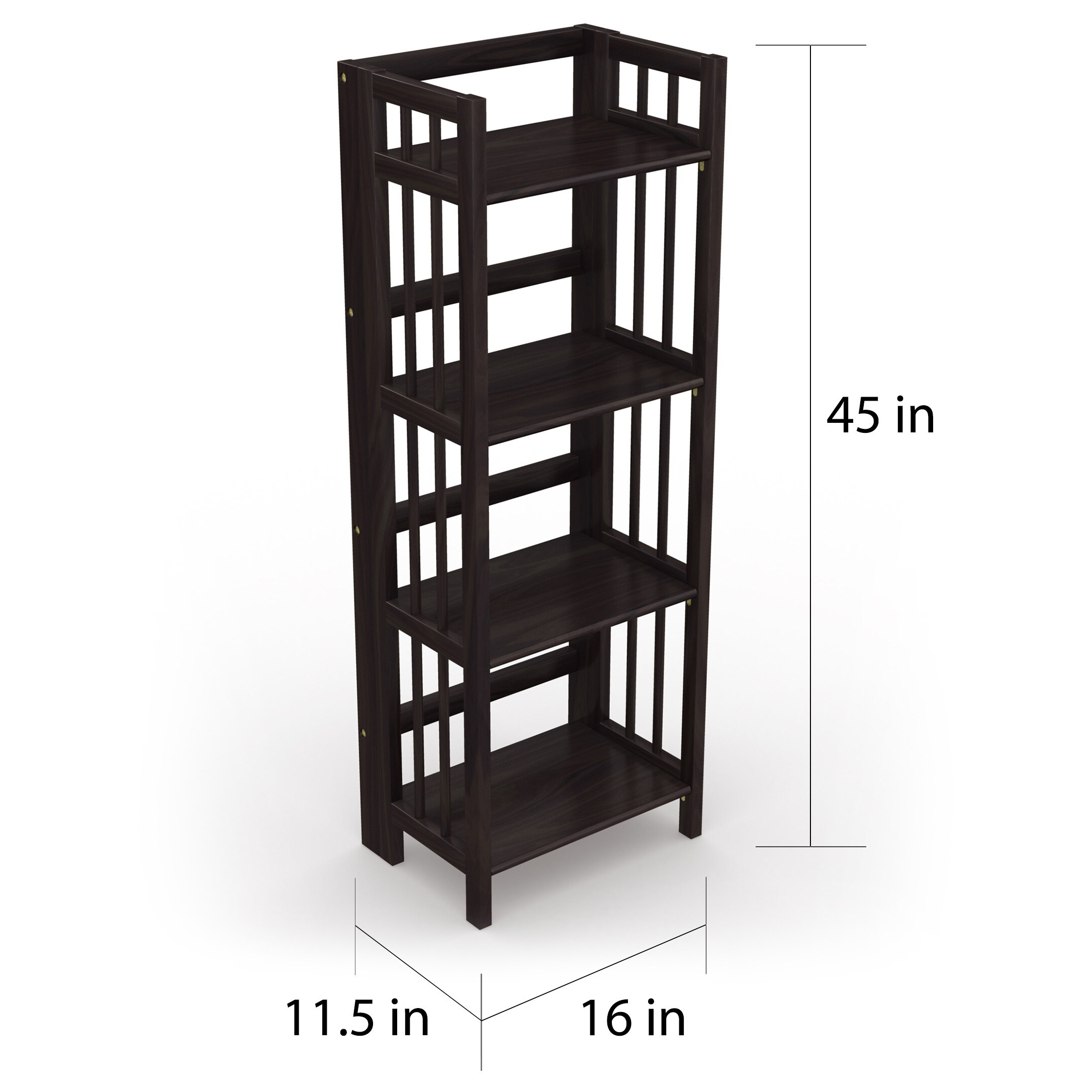 No Assembly Folding Four Shelf Bookcase 16 Inches Wide