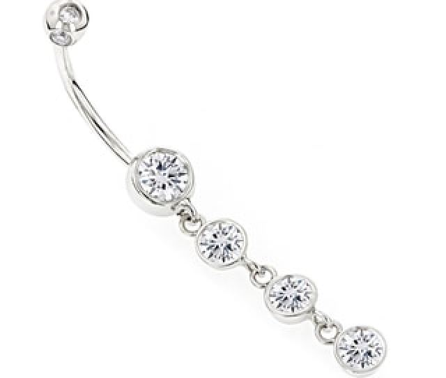 Luxurman 14k Gold Ct Tdw Diamonds Dangling Belly Button Ring H I