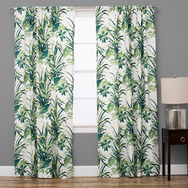 Shop Bermuda Cotton Palm Leaf Green Curtain Panel Free Shipping Today Overstock 11765186