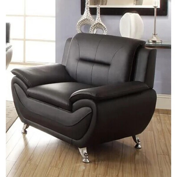 Alice Black Faux Leather Modern Living Room Chair - On ...