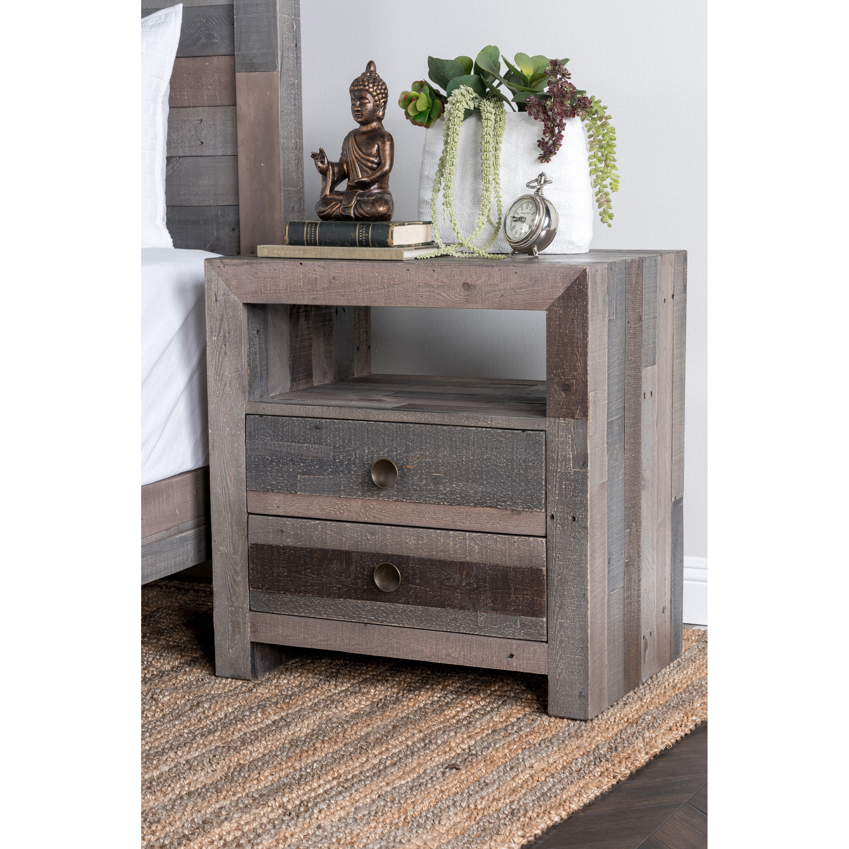 Oscar Grey Reclaimed Wood 2 Drawer Nightstand By Kosas Home