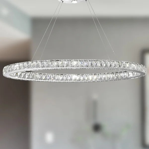 Galaxy 20 Led Light Chrome Finish And Clear Crystal Oval Ring Chandelier