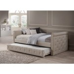 Baxton Studio Aisopos Modern And Contemporary Beige Fabric Tufted Twin Size Daybed With Roll Out Trundle Guest Bed Overstock 11866736