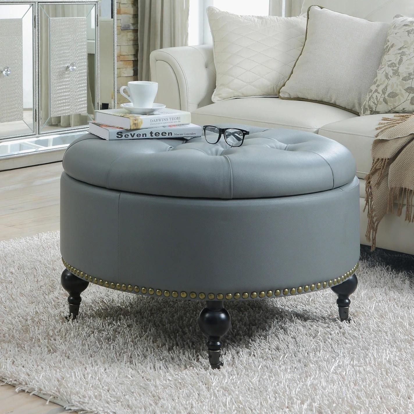 chic home mona black grey cream leather hidden storage button tufted gold nailhead trim round ottoman