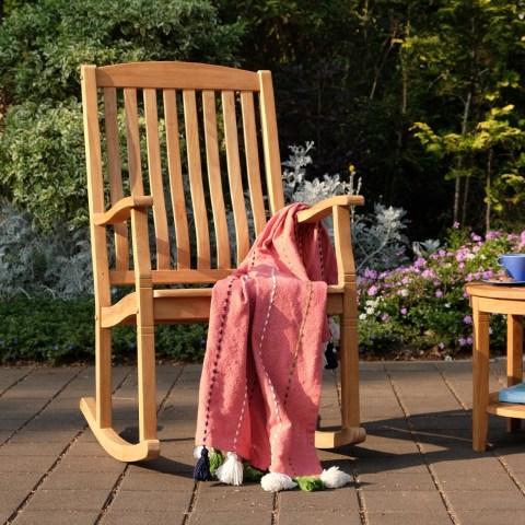 Cambridge Casual Sherwood Natural Teak Porch Rocking Chair