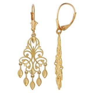 14k Yellow Gold 1 5 Inch Chandelier Earrings