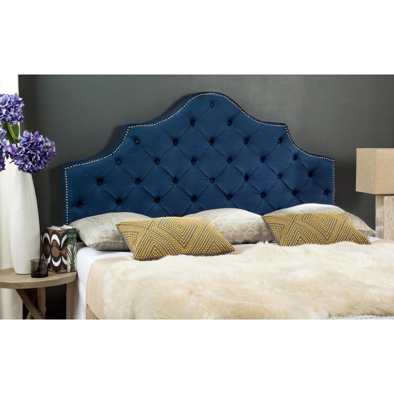 Shop Safavieh Arebelle Steel Blue Upholstered Tufted Headboard Silver Nailhead King Overstock 12014924