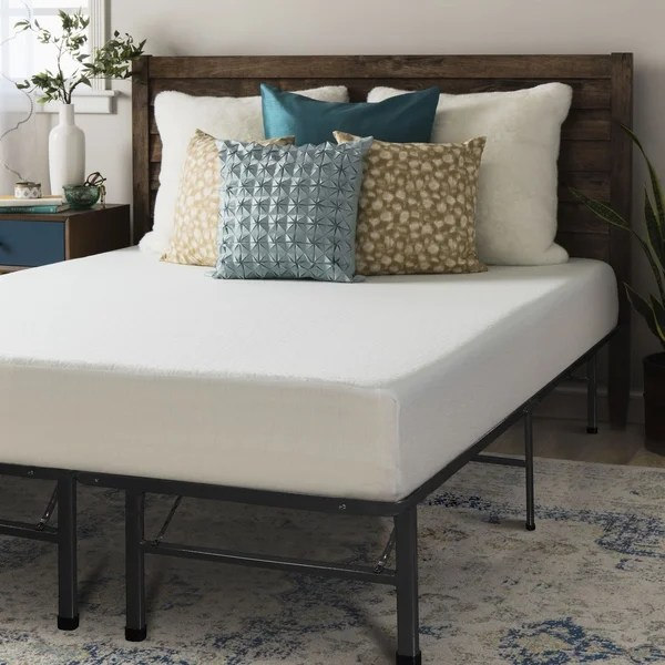 Crown Comfort 8 Inch Full Size Bed Frame And Memory Foam Mattress Set