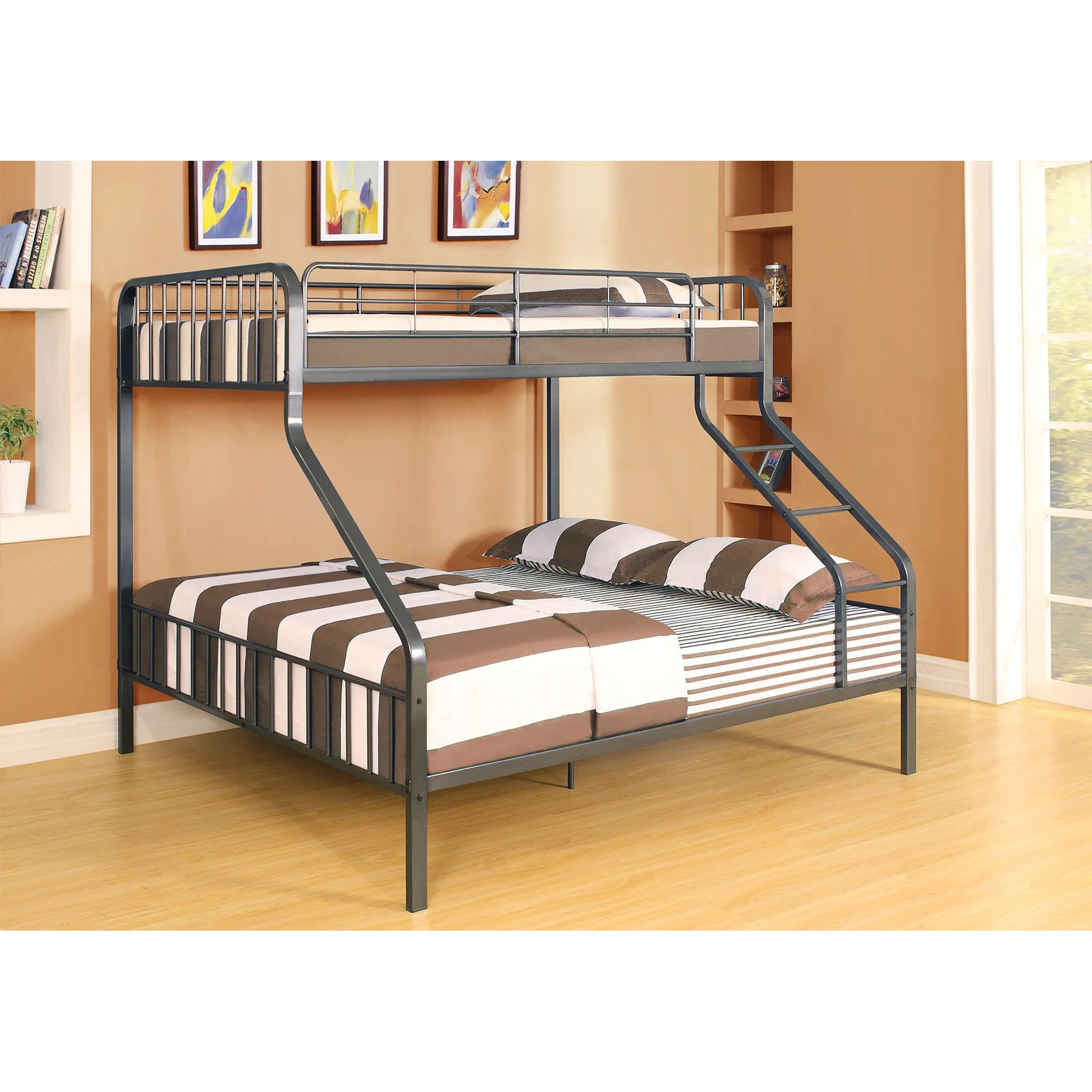 Caius Gunmetal Twin Xl Queen Bunk Bed On Sale Overstock 12033438